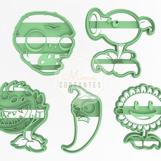Télécharger plan imprimante 3D Cookie Cutter Kit Plantes contre Zombies, Romanlsola