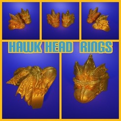 Z4013.jpg Download free STL file Hawk Head Ring • Design to 3D print, LittleTup
