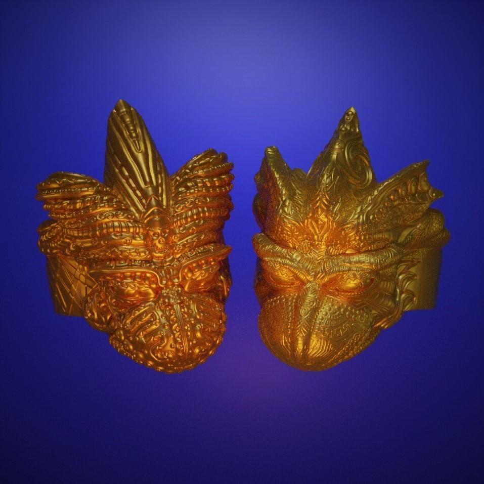 two bird square.jpg Télécharger fichier STL gratuit Anneau de tête de faucon • Modèle pour impression 3D, LittleTup