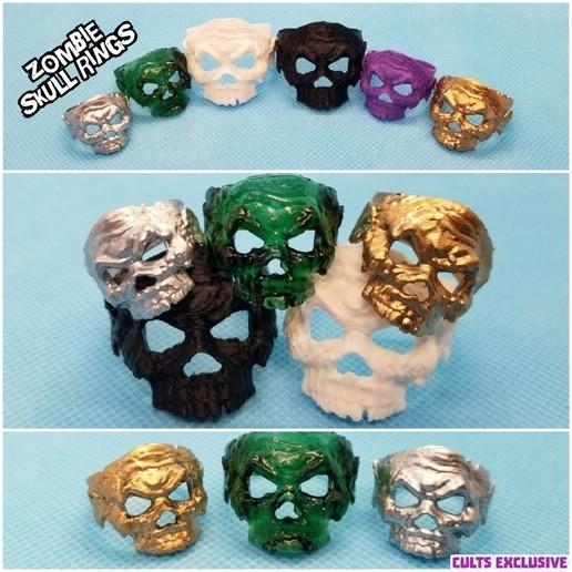 zombie ring .jpg Télécharger fichier STL gratuit Anneau de crâne de zombie • Objet pour imprimante 3D, LittleTup