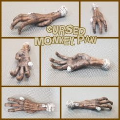3.jpg Download free STL file Cursed Monkey Paw Charm Necklace • 3D printer design, LittleTup
