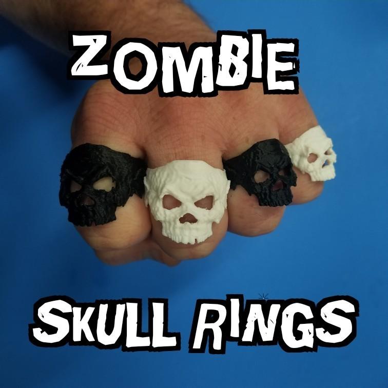 zombie skull rings .jpg Download free STL file Zombie Skull Ring • 3D printer model, LittleTup