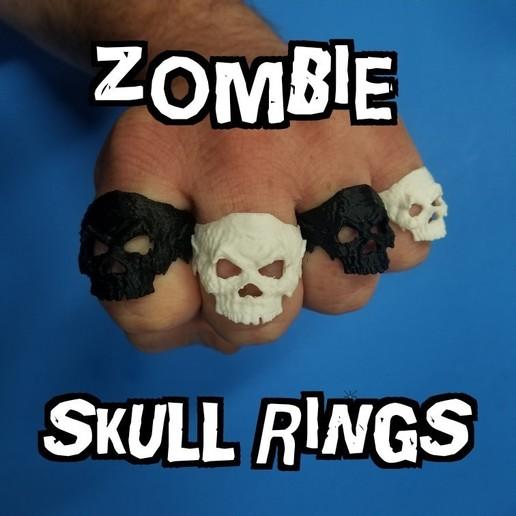 zombie skull rings .jpg Télécharger fichier STL gratuit Anneau de crâne de zombie • Objet pour imprimante 3D, LittleTup