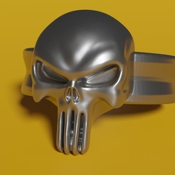 Punisher render.jpg Download STL file punisher ring • 3D printing model, rodrigo11o11