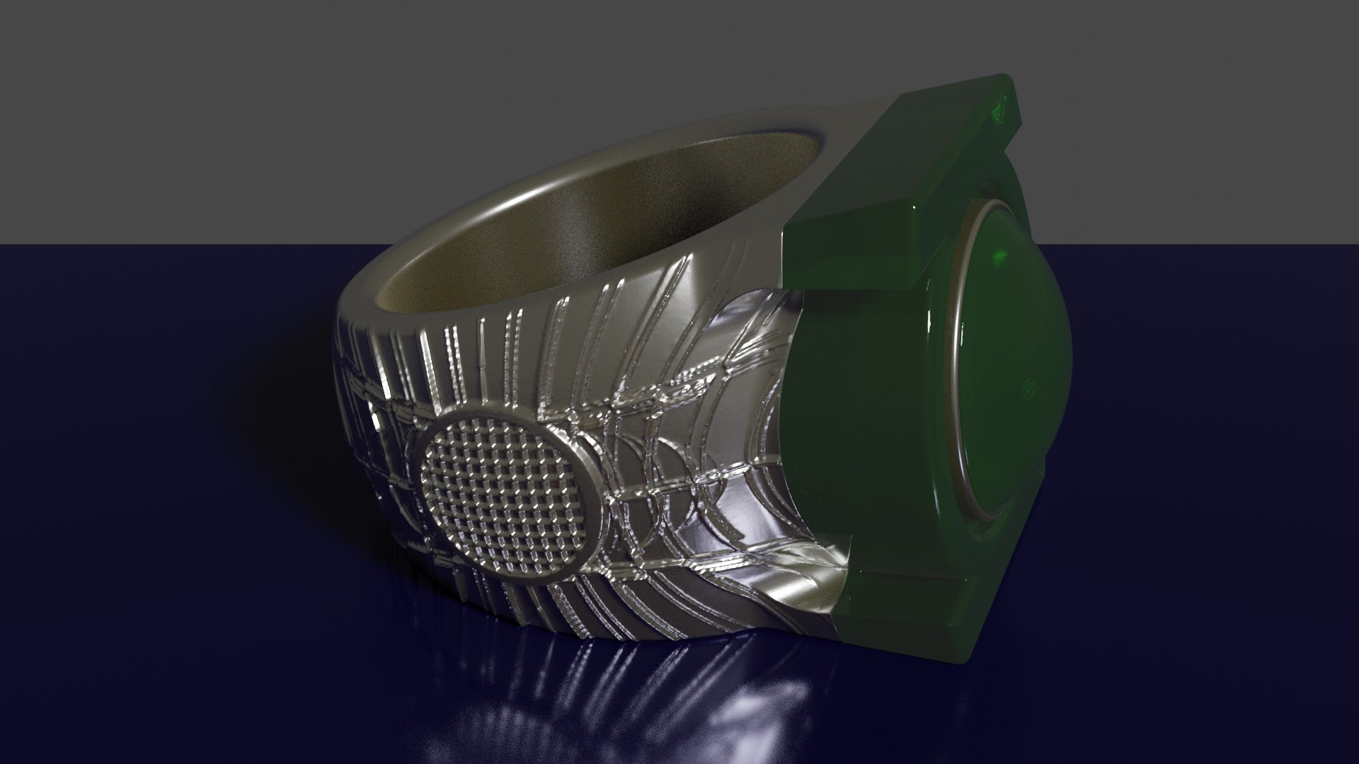 anillo linterna verde render2.jpg Download STL file Green lantern ring • Design to 3D print, rodrigo11o11