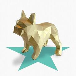 dodo-gold3_display_large.jpg Download free STL file Dogo - DIY folding kit for a beautifull geometric low poly diamond style French Bulldog • Design to 3D print, Cerragh