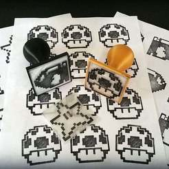 Free STL files Geeky 8bit character Rubber Stamps, Dourgurd