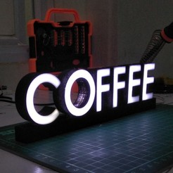 Download free 3D printer files TEXT LED COFFEE, februandi