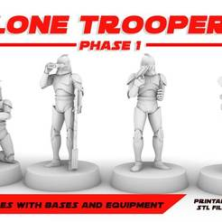 CLONE_TROOPERS.jpg Download free STL file CLONE TROOPERS PHASE 1, LEGION SCALE, STAR WARS, RPG, UNPAINTED, ROLE PLAYING, D&D • 3D print object, LANARDARNA