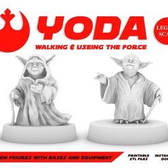 YODA_POSTER.jpg Download free STL file YODA WALKING & USING THE FORCE, LEGION SCALE, STAR WARS, RPG, UNPAINTED, ROLE PLAYING, D&D • 3D print model, LANARDARNA