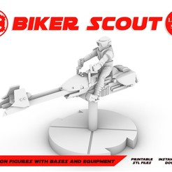 BIKER-SCOUT_POSTER.jpg Download STL file BIKER SCOUT, LEGION SCALE, STAR WARS, RPG, UNPAINTED, ROLE PLAYING, D&D • Design to 3D print, LANARDARNA