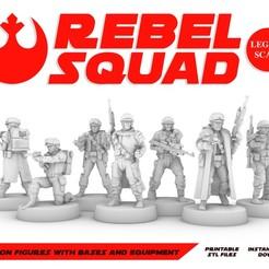 Descargar modelos 3D Figuras del escuadrón rebelde, Legión, Star Wars, RPG, sin pintar, juegos de rol, D&D, BOHIMSO