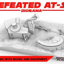 ATST_DEFEATED.jpg Download STL file DEFEATED AT-ST DIORAMA, LEGION SCALE, STAR WARS, RPG, UNPAINTED, ROLE PLAYING, D&D • 3D print template, LANARDARNA