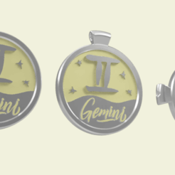 gemini 1.png Download STL file 3 IN 1. COIN, BANGLE AND KYLON WITH THE GEMINI. • 3D printing design, Skap14