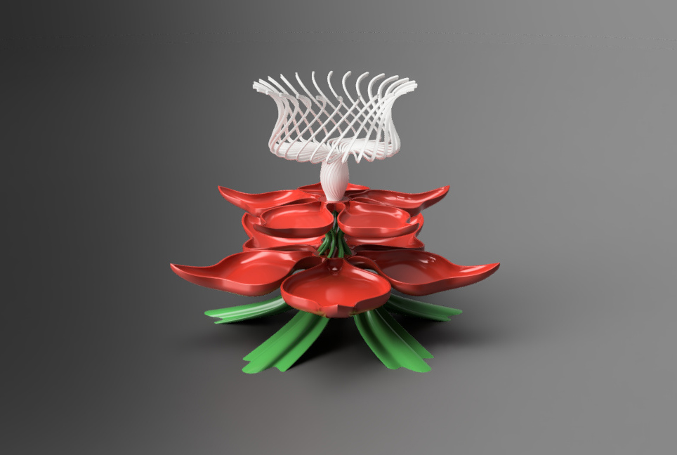 Flower_tray-2.jpg Download free STL file Flower inspired treat tray • 3D printable template, Justin3D