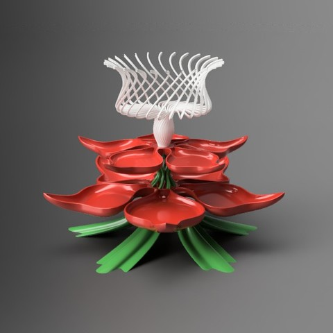 Download free 3D printer templates Flower inspired treat tray, Justin3D