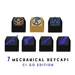 Download free STL file 7 Keycaps for mechanical keyboard - CS GO Edition • 3D printing object, HIKO3D