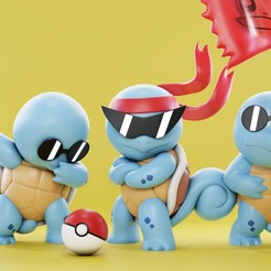 final_squad2.jpg Download free STL file Squirtle Squad - Pokemon toys - Fan Art • 3D print design, HIKO3D