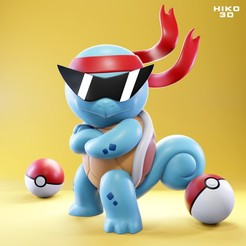 squirtle_01.jpg Download free STL file Squirtle Squad Leader - Pokemon Figure • 3D print model, HIKO3D