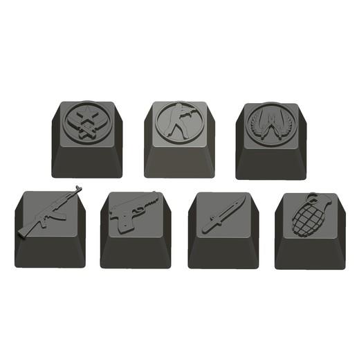 10.jpg Télécharger fichier STL gratuit 7 Capuchons pour clavier mécanique - CS GO Edition • Plan à imprimer en 3D, HIKO3D