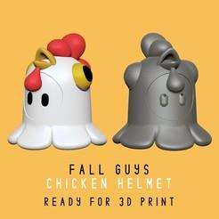 chicken_helmet_portada.jpg Download STL file Fall Guys - Chicken Helmet - Real Scale • 3D printing object, HIKO3D