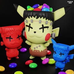 final.jpg Download STL file FrankenChu - Halloween Toy Pot • 3D print model, HIKO3D