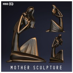 Descargar modelos 3D para imprimir Mother and son - Stylized Figure Sculpture, HIKO3D