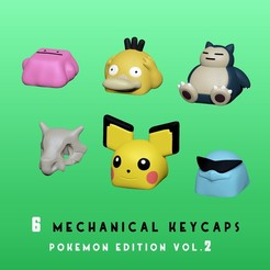 01.jpg Download STL file 6 Keycaps for mechanical Keyboard - POKEMON Edition Vol 2 - • 3D print design, HIKO3D