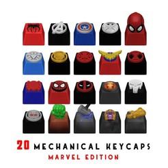 portadaFINAL_keys_marvel.jpg Télécharger fichier STL 20 Capsules pour clavier mécanique - Marvel Edition • Objet pour imprimante 3D, HIKO3D