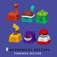 portada.jpg Download STL file 6 Keycaps for mechanical Keyboard - POKEMON Edition • Design to 3D print, HIKO3D