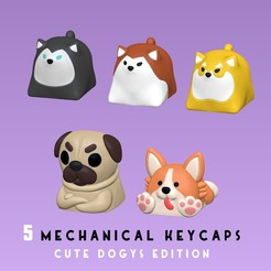 portada.jpg Download STL file 5 Keycaps for mechanical Keyboard - CUTE DOGYS Edition • 3D printable object, HIKO3D