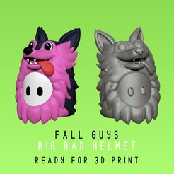 big_bad_helmet_portada.jpg Download STL file Fall Guys - Big Bad - Wolf Helmet - Real Scale • 3D print template, HIKO3D