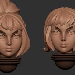 head20.2.jpg Download OBJ file Anime set of Adepta Sororitas alternative heads 3D print model • 3D print design, Minigames_miniatures