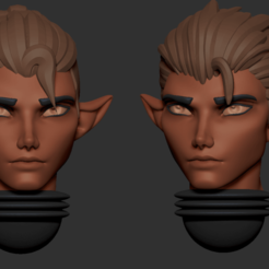 head.png Download OBJ file Anime set of Eldar alternative male heads 3D print model • 3D printer template, Minigames_miniatures