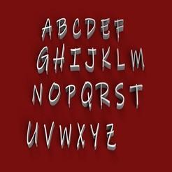 Objet 3D Fichier STL 3D de lettres majuscules de police INKFREE, 3dlettersandmore