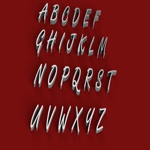 3D printer models FREESTYLE font uppercase 3D letters STL file , 3dlettersandmore