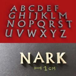 foto.jpg Télécharger fichier STL Police NARK lettres majuscules 3D fichier STL • Plan à imprimer en 3D, 3dlettersandmore