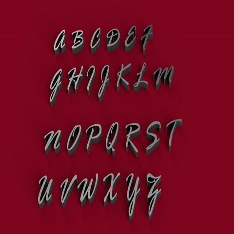 STL file RAGE ITALIC font uppercase 3D letters STL file, 3dlettersandmore