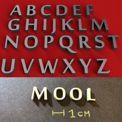 foto.jpg Télécharger fichier STL Police MOOL lettres majuscules 3D fichier STL • Design imprimable en 3D, 3dlettersandmore