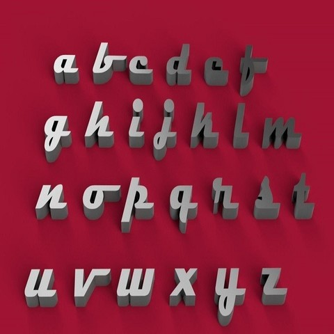 3D printer files MAGNETO font lowercase 3D letters STL file, 3dlettersandmore