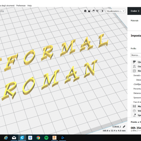 INFORMAL ROMAN font uppercase and lowercase 3D letters STL file