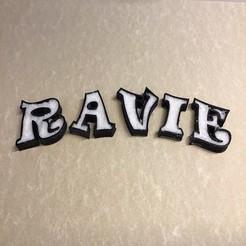 Télécharger plan imprimante 3D EMPTY RAVIE Police lettres majuscules 3D Fichier STL Modèle d'impression 3D, 3dlettersandmore