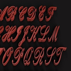 RENDER2.jpg Télécharger fichier STL KUNSTLER police de caractères lettres majuscules 3D fichier STL • Modèle à imprimer en 3D, 3dlettersandmore