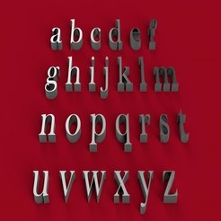 Descargar archivo 3D BASKERVILLE fuente minúscula 3D archivo de letras, 3dlettersandmore