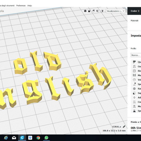 OLD ENGLISH font lowercase 3D letters STL file