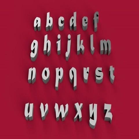 3D printing model MATURA font lowercase 3D letters STL file, 3dlettersandmore