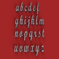 Descargar STL SCRIPTBOLD letras minúsculas 3D archivo STL, 3dlettersandmore