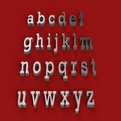 Download 3D printer model ROCKWELL font lowercase STL file, 3dlettersandmore