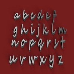 Download 3D printing designs SEGOE SCRIPT font lowercase 3D letters STL file, 3dlettersandmore