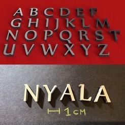 foto.jpg Download STL file NYALA font uppercase 3D letters STL file • 3D printer model, 3dlettersandmore